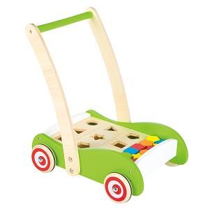 Lelin Toys - Duw-  loopwagen met vormenplank en blokken