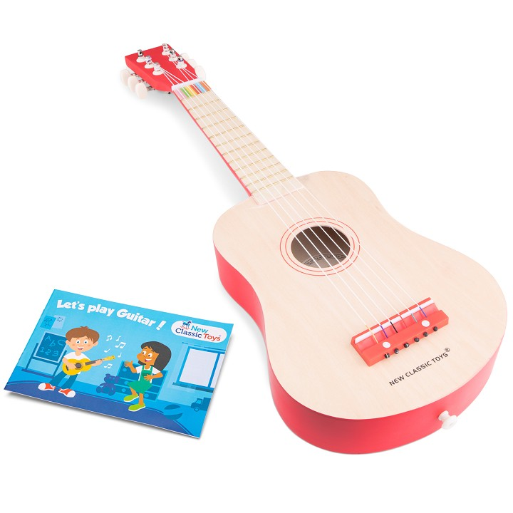 New Classic Toys - Gitarre - DeLuxe - Natur/Rot