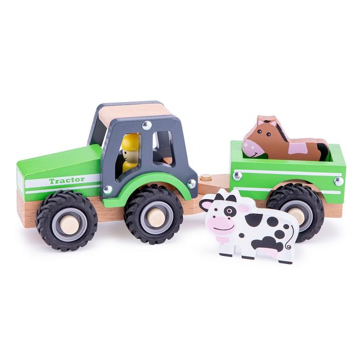 Bauernhof New Classic Toys 11941 Traktor mit Anhänger und Tieren