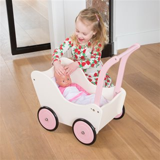 New Classic Toys - Puppenwagen - Creme - inkl. Bettgarnitur
