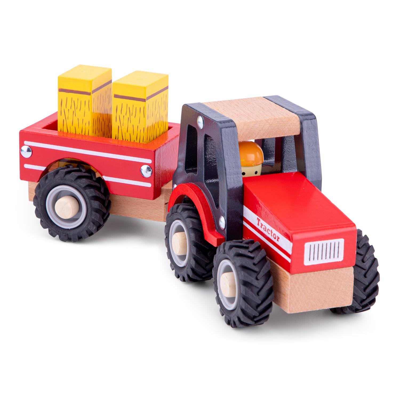 New Classic Toys 11943 Traktor mit Anhänger und Heuballen Fahrzeuge