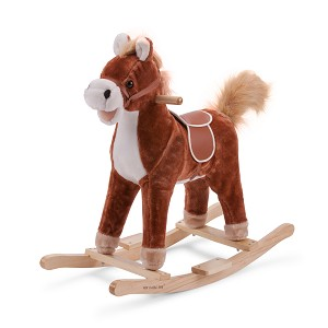 New Classic Toys - Schaukelpferd - Plüsch - Dunkelbraun